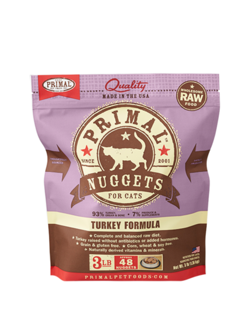 Primal Raw Frozen Cat Turkey Nuggets 3 lb