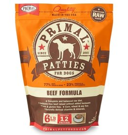 Primal Frozen Raw Dog Beef Patties 6 Lb