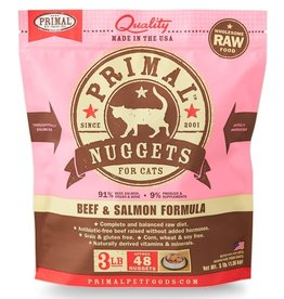 Primal Frozen Raw Cat Beef/Salmon Nuggets 3 Lb