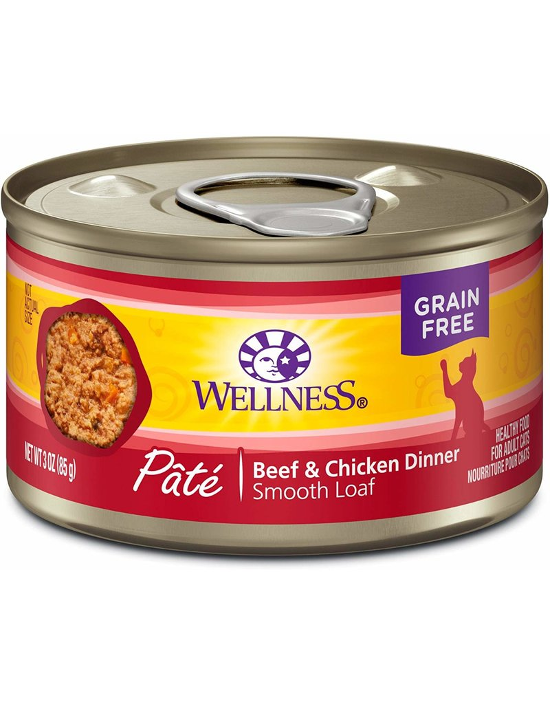 Wellness Canned Cat Beef & Chicken Pate 5.5 Oz