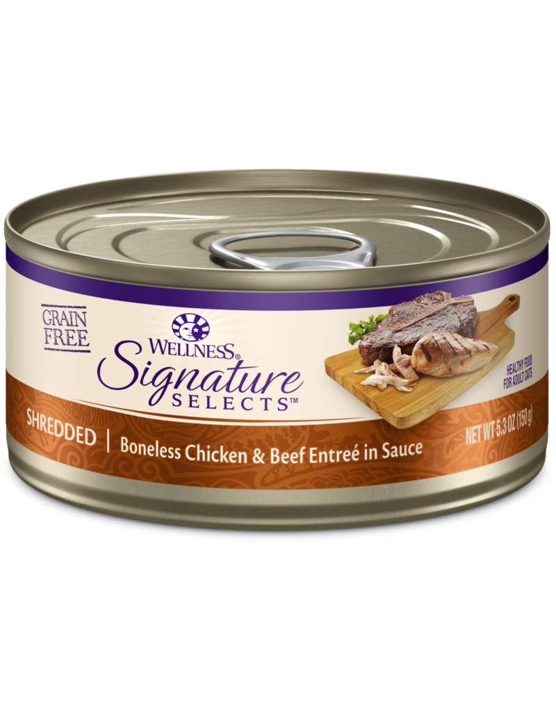 Wellness Canned Cat Signature Selects Chicken W/ Beef Shredded 5.3 oz