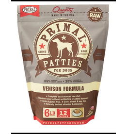 Primal Raw Dog Frozen Venison Patties 6 Lb