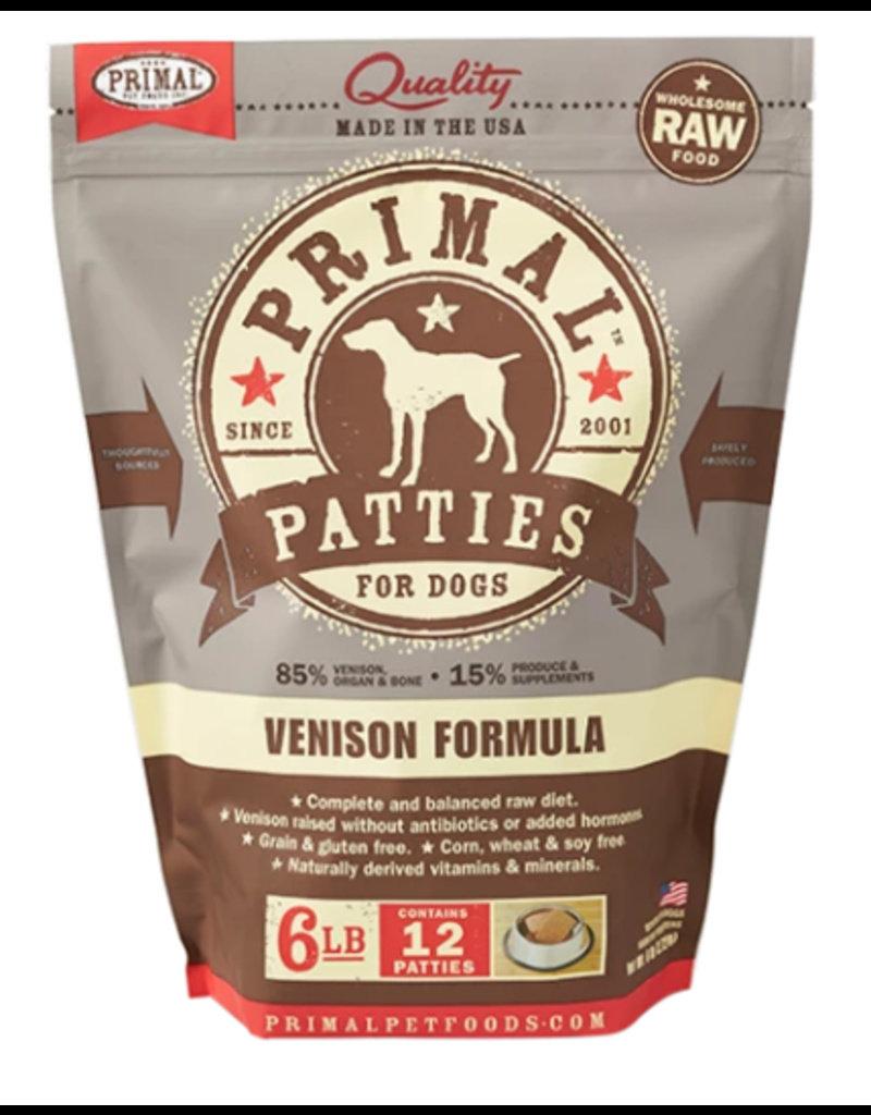Primal Raw Dog Frozen Venison Patties 6 Lb