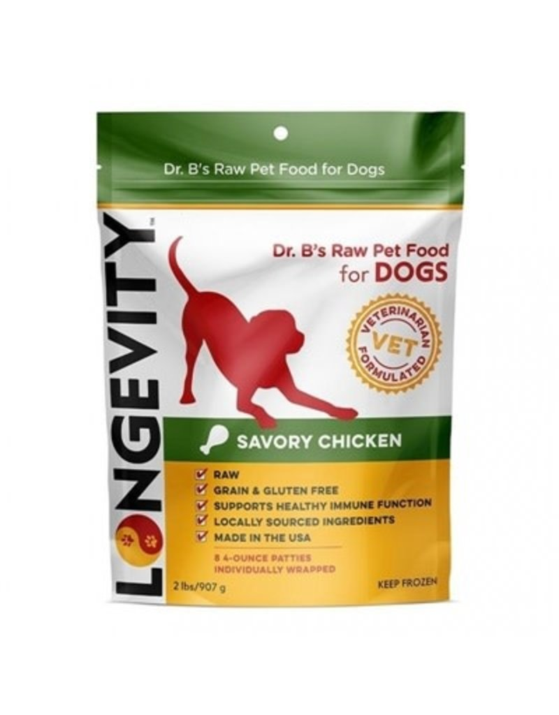 Longevity Dr. B's Frozen Raw Dog Chicken Patties 2 Lb