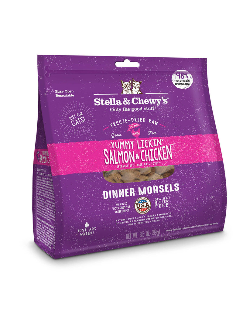 Stella and Chewys Cat Freeze Dried Dinner YUM Salmon Chicken Lickin 18 OZ