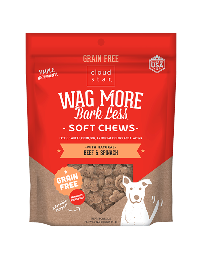 Cloud Star Wag More Grain Free Soft & Chewy Beef 5 oz