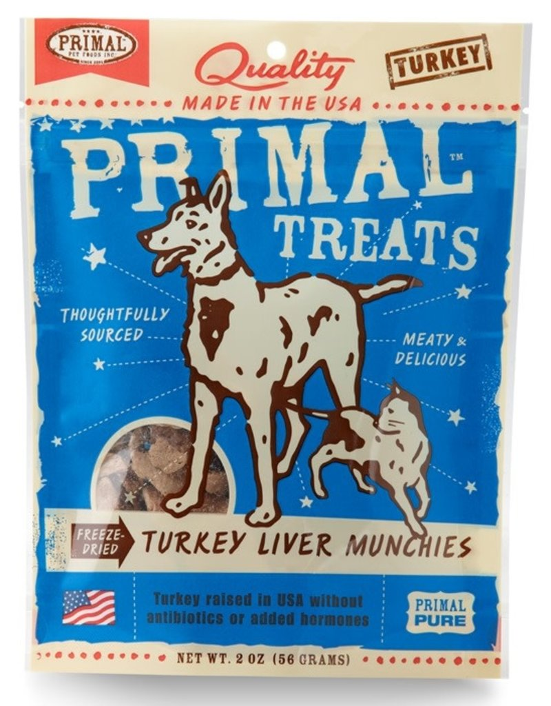 Primal Dog Treats Turkey Liver Munchies 2 OZ