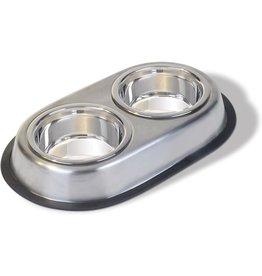 Van Ness Stainless Steel Non Skid Double Dish 64 Oz