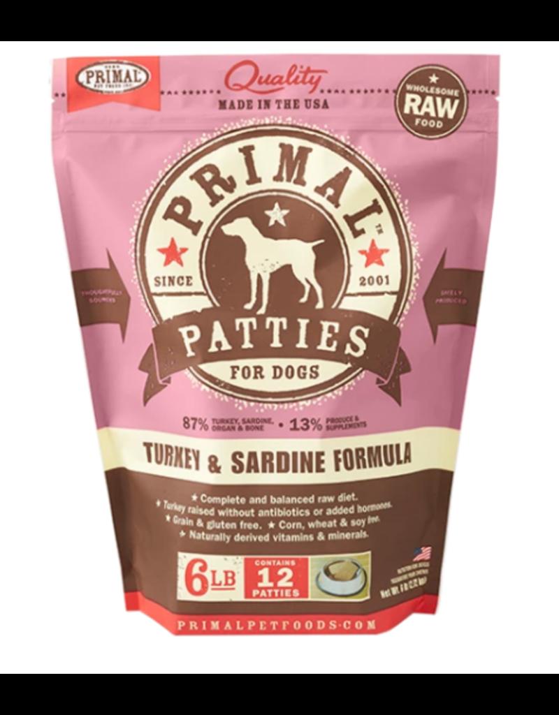 Primal Dog Frozen Raw Patties Turkey & Sardine 6 LB