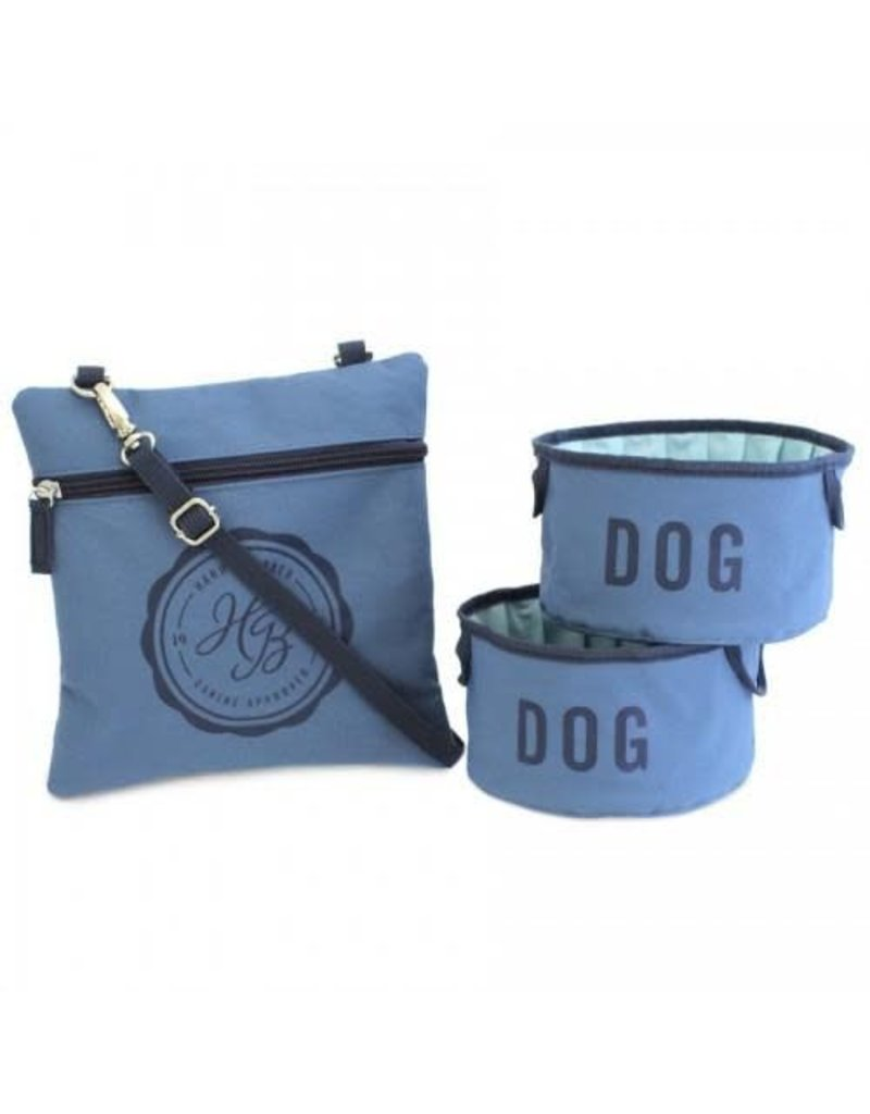 Harry Barker Fold-Up Dog Bowls and Pouch Large