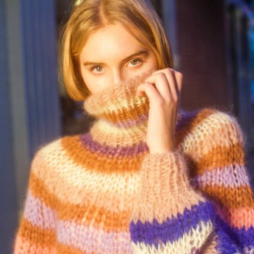 Maiami Striped Turtleneck with Blousy Sleeves