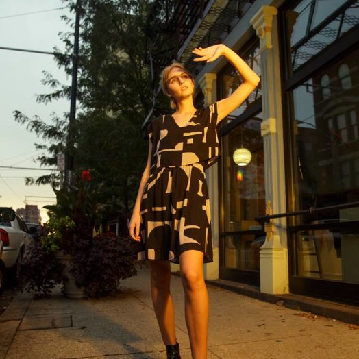 Eve Gravel After Midnight Dress, Shatter print