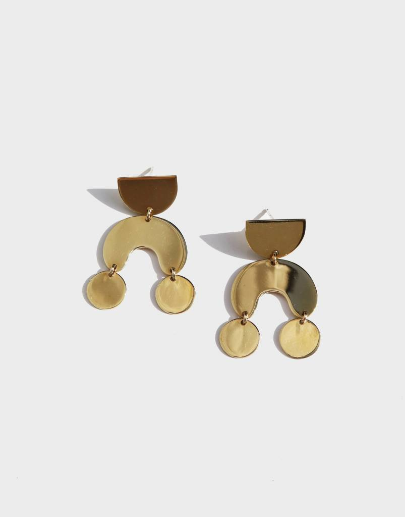 Modern Weaving Teeny Tiny Moondance Earrings, High Polish Brass