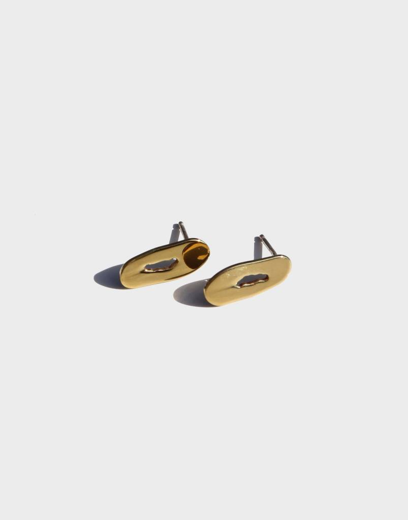 Modern Weaving Mini Oblong Studs, Brass High Polish