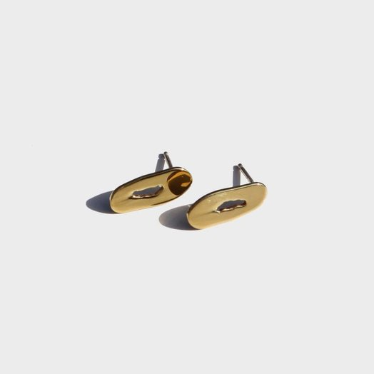 Modern Weaving Oblong Oval Stud Earrings, High Polish Brass
