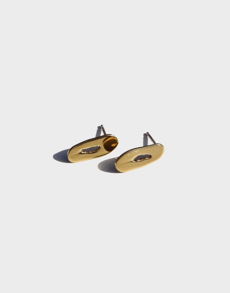 Modern Weaving Oblong Oval Stud Earrings, High Polish Brass
