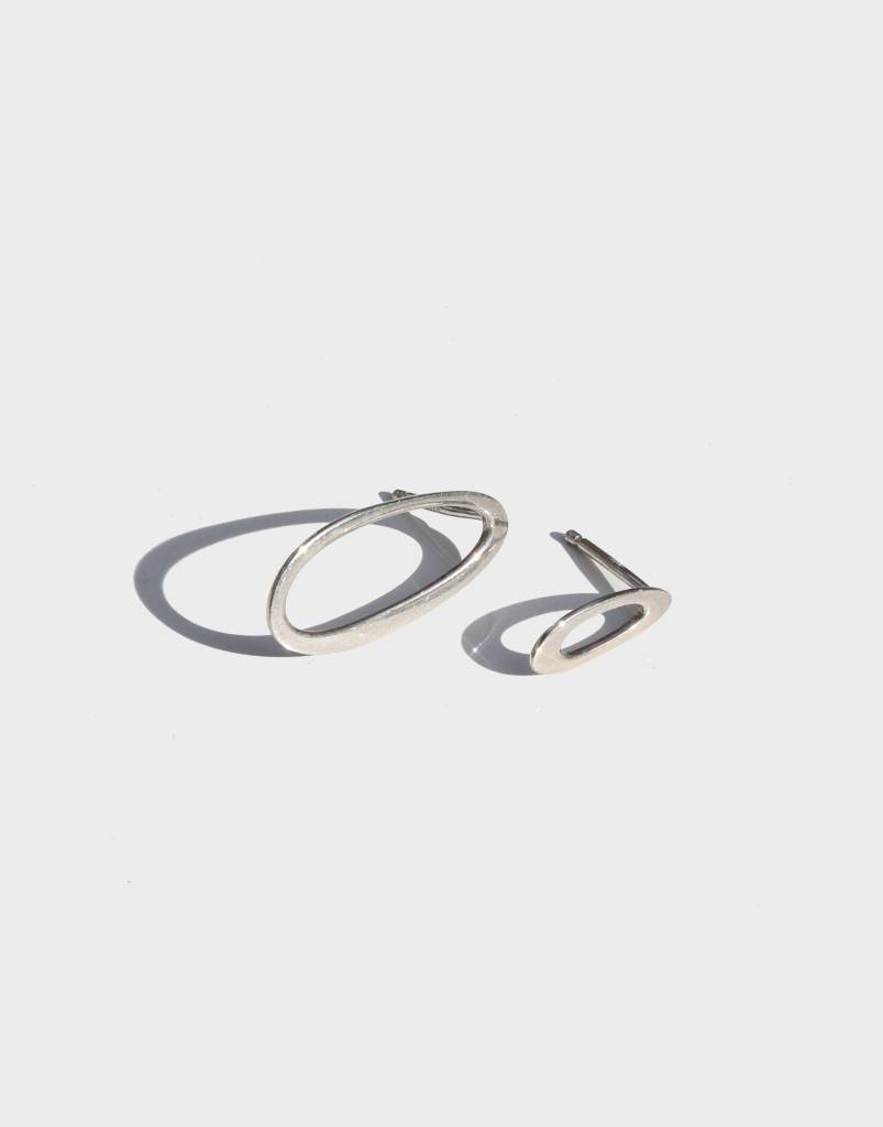 Modern Weaving Mixed Oval Studs , Sterling Silver