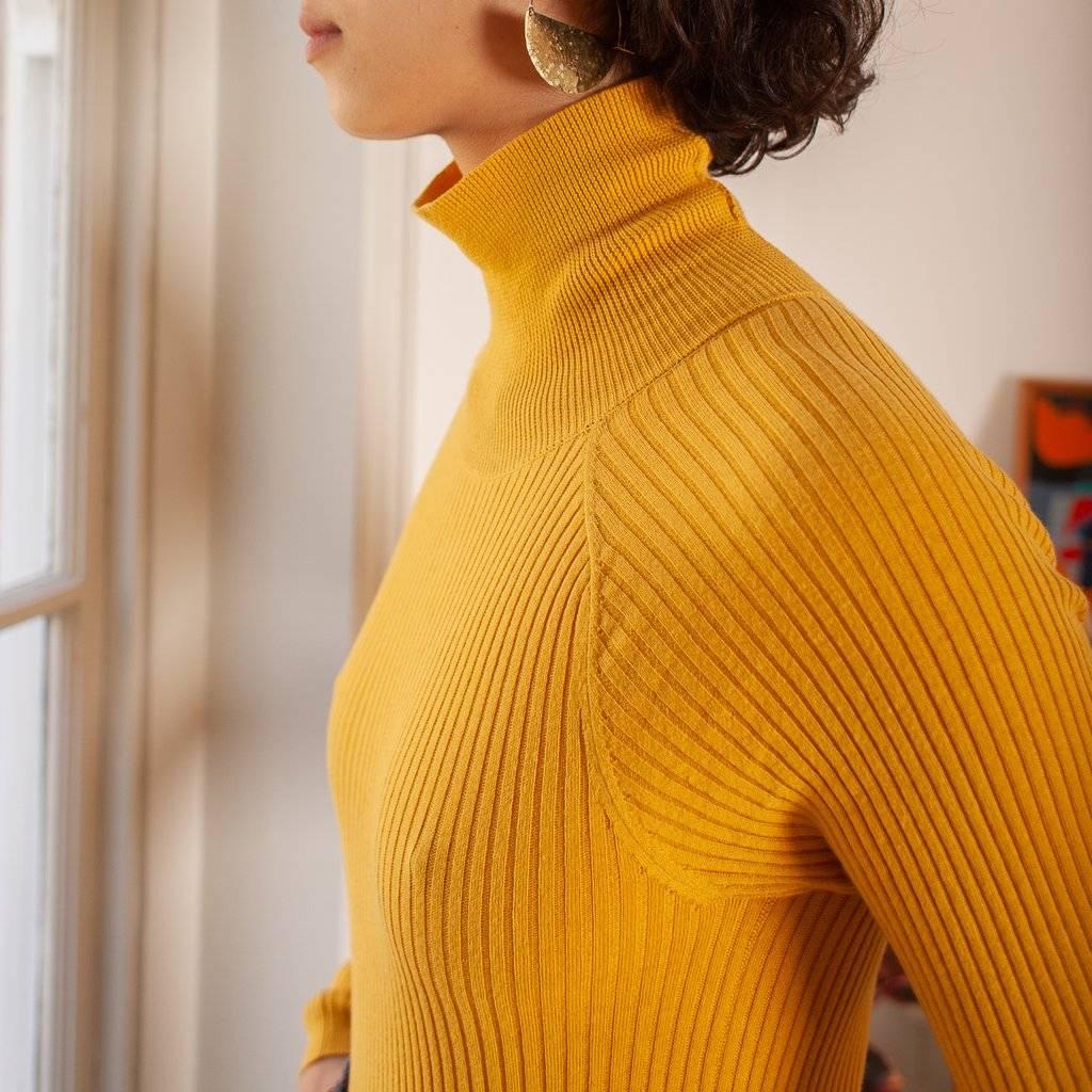 LF Markey Cotton Rib Polo Neck, Mustard
