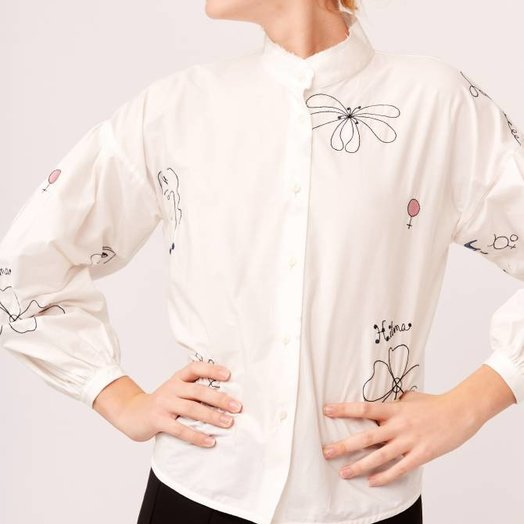Mr Larkin Poppy Shirt, Hilma Embroidery