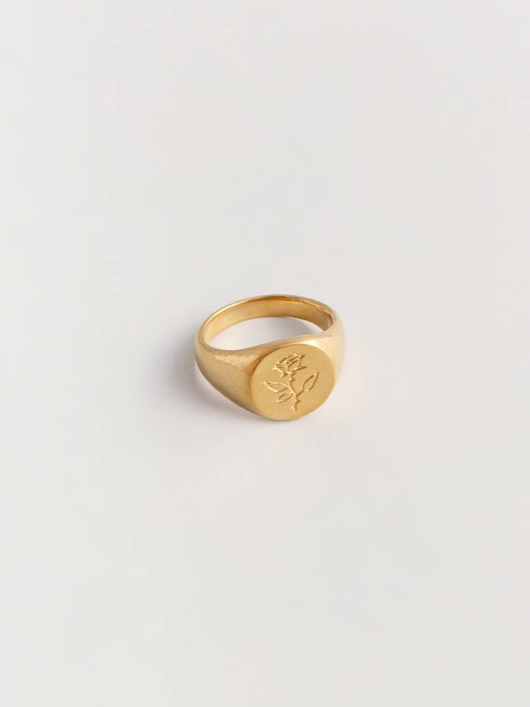 Wolf Circus Rose Ring Gold Plated, Size 7