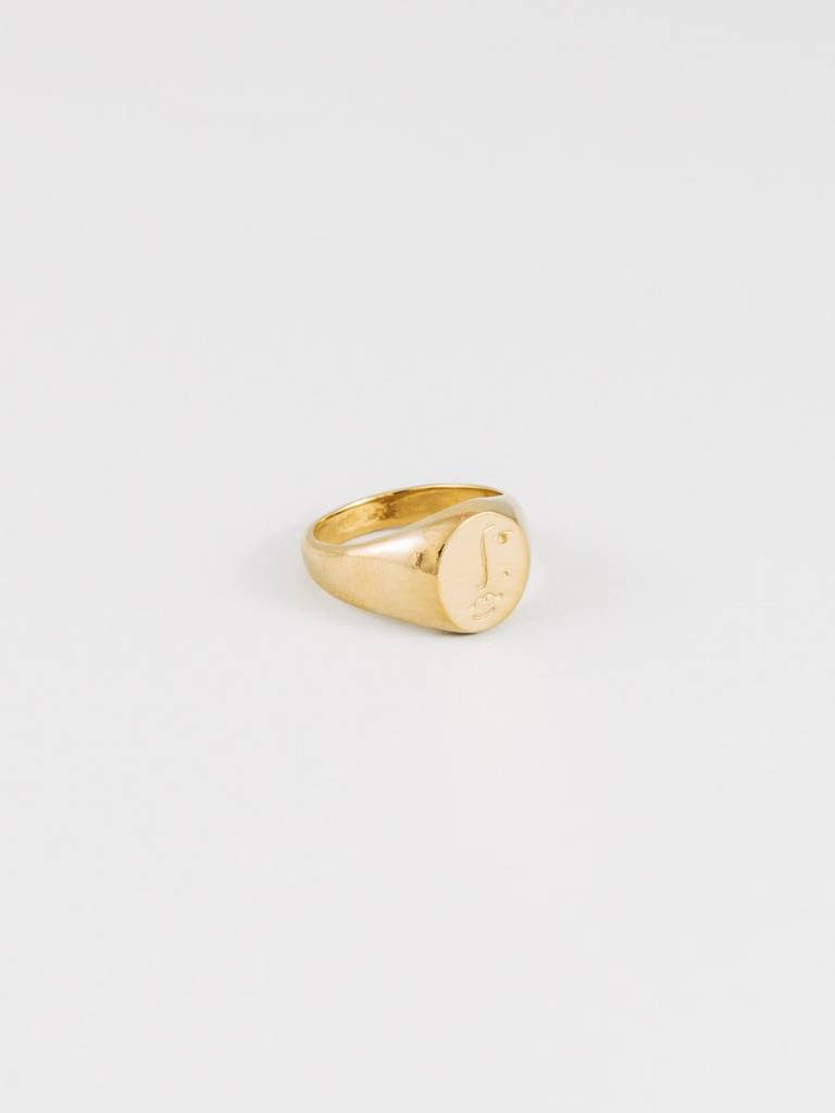 Wolf Circus Matisse Face Ring Gold Plated, Size 7