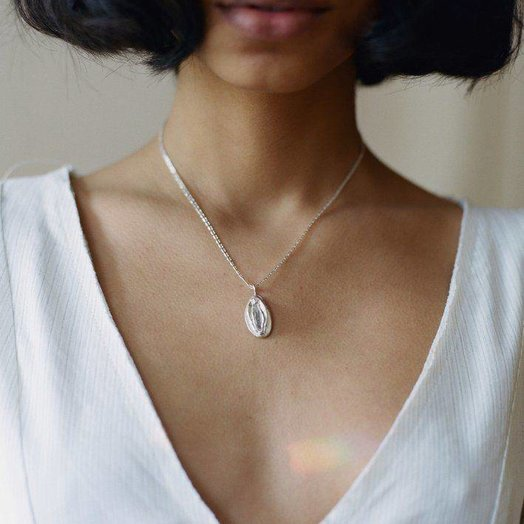 """TUZA Vagina Charm Necklace 18"""" Sterling Silver"""
