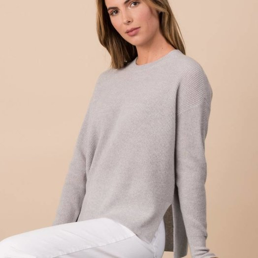 Margaret OLeary Cashmere Boxy Waffle Crew, Cloud