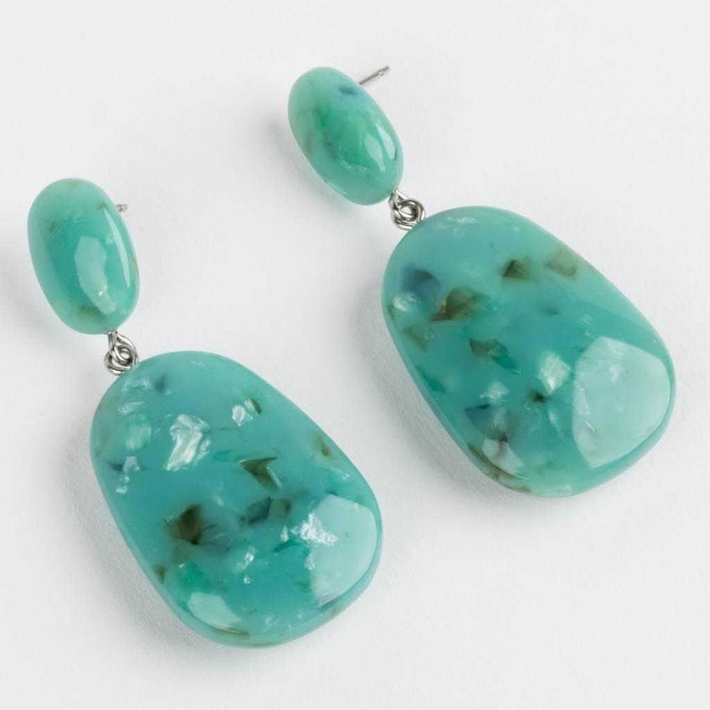 Machete Grande Drop Earrings in Turquoise Mineral