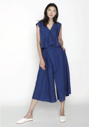 7115 by SZEKI Summer Culotte, 100% Linen, Indigo