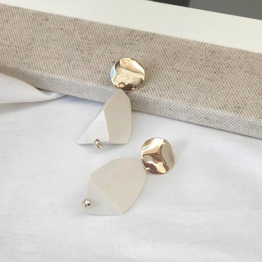 Rough Cut Wood Earrings