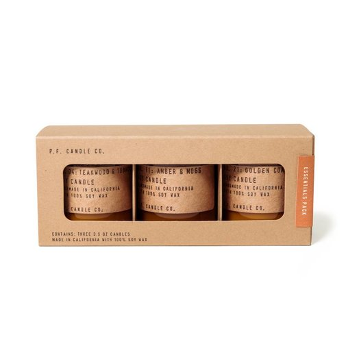 Essentials Mini Combo Pack, 3.5 oz Teakwood & Tobacco, Amber & Moss & Golden Coast