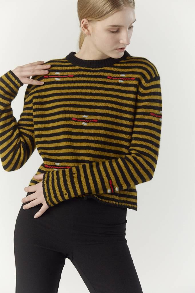 Raquel Allegra Crew Neck Stripe, Gold Black