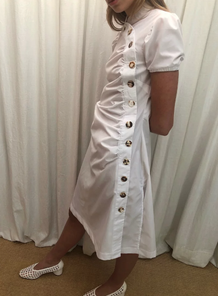 House of Sunny Pearl White Cotton Sundress