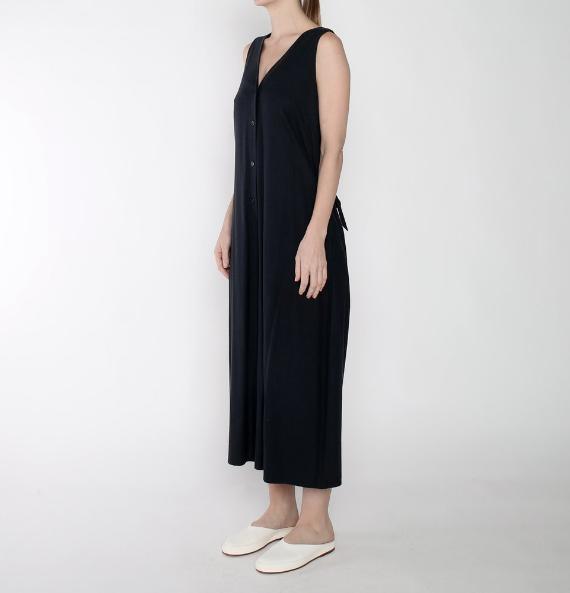 7115 by SZEKI Raw Silk Wide Leg Jumpsuit, 100% Silk, Navy