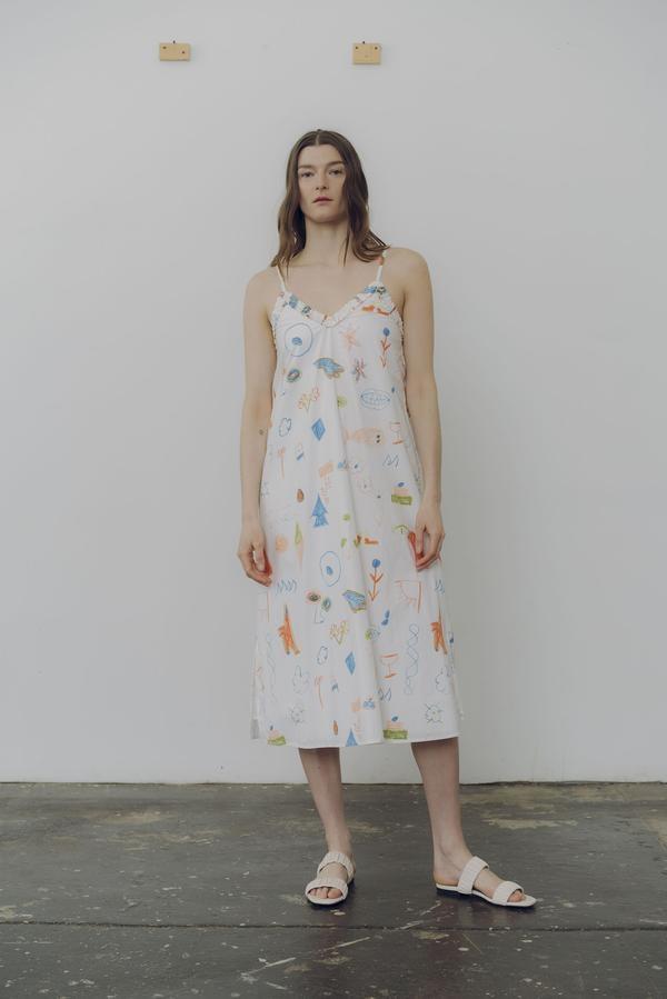 Wray Slip Dress, Doodle Print