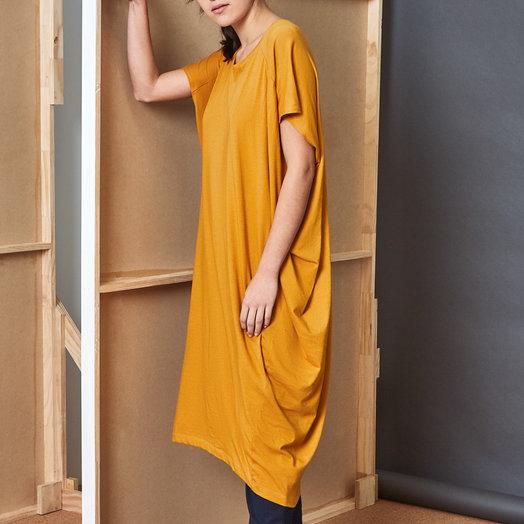 Kowtow Building Block Drape Dress, Amber