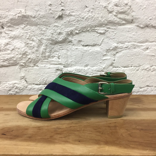 A Détacher Blackwell Sandals, Striped Crossover Sandals on low wooden heel, Green/Navy