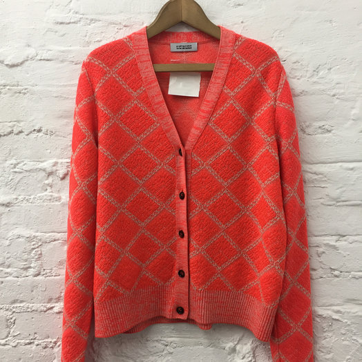 A Détacher Claudeta Cardigan, Red Fluo, Argyle V Neck Cardigan Sweater