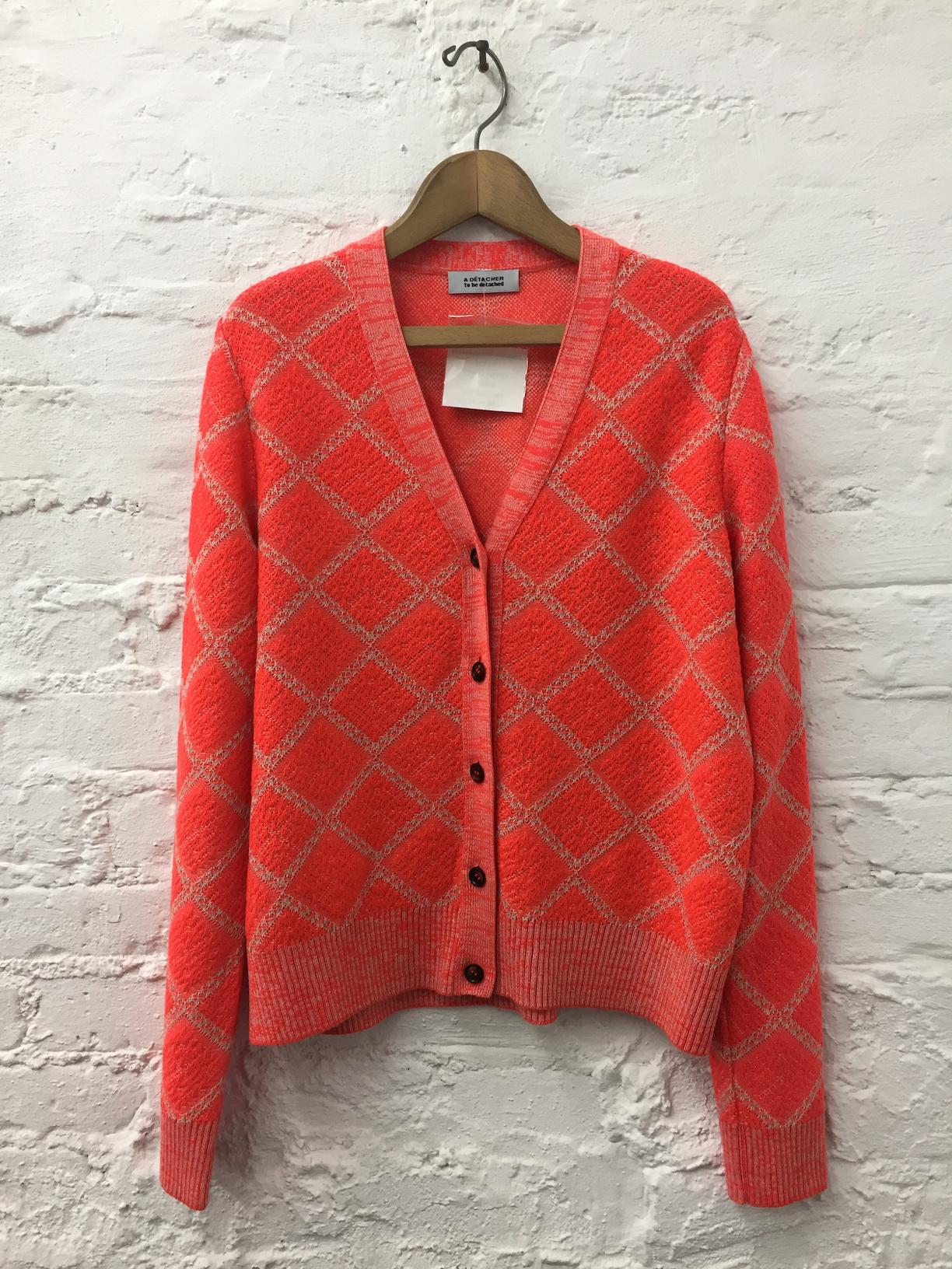 A Détacher Claudeta Cardigan, Red Fluo, Argyle V Neck Cardigan Sweater