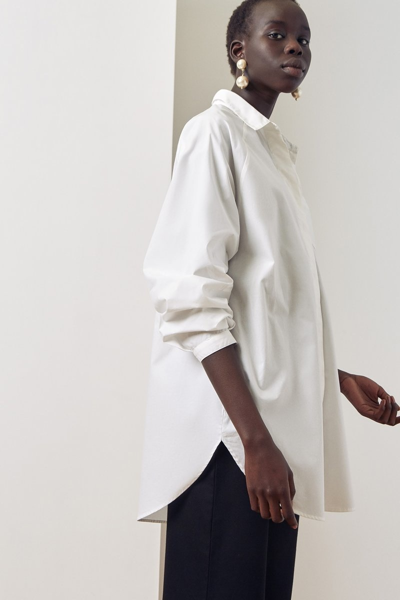 Kowtow Oversized White Button Up Shirt