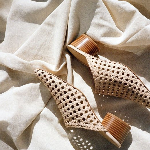 Lisa Says Gah Woven Lou Mule in Sand Suede