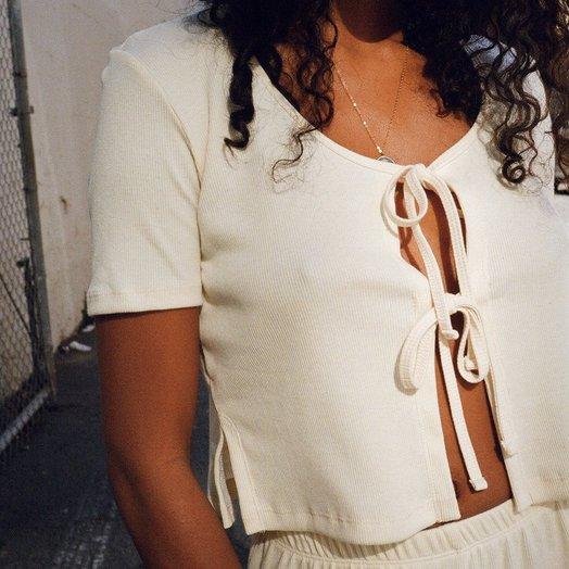 Lisa Says Gah Capri Tie Top, Ivory