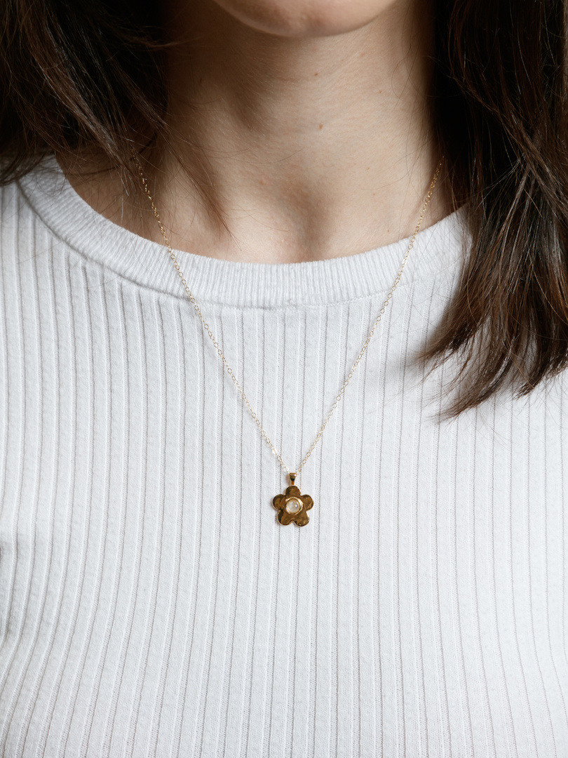 Wolf Circus Paisley Necklace, 14K Gold Plated, Flower Pendant with Moonstone and Chain