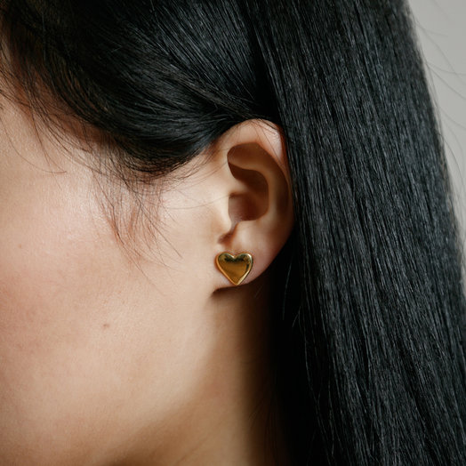 Wolf Circus Amorette Stud, Heart Earrings, 14K Gold Plated
