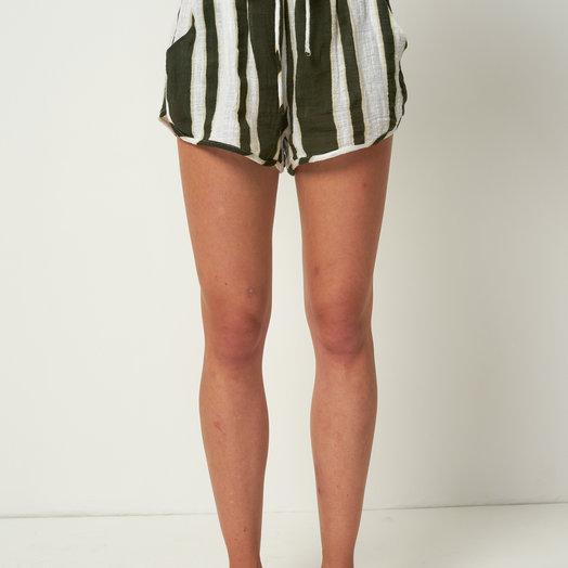 Rue Stiic Willa Shorts, Presley Stripe, Mustang Green