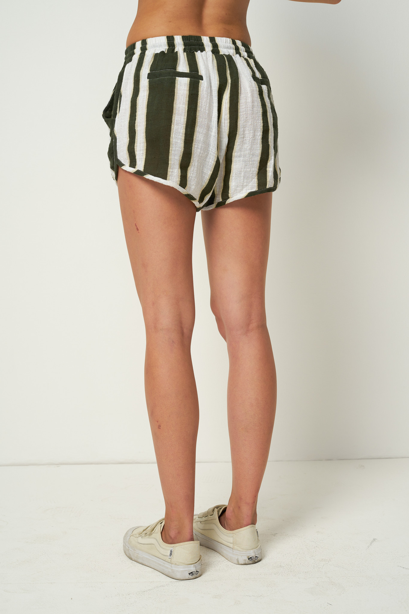 Rue Stiic Willa Shorts, Presley Stripe, Mustang Green