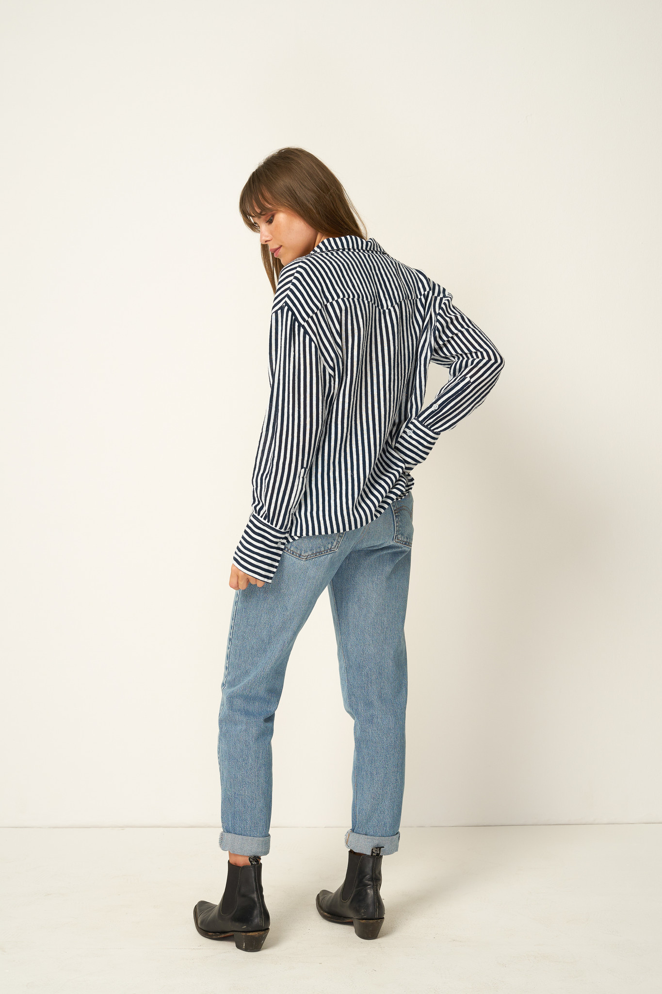 Rue Stiic Fremont Shirt, Copperfield Stripe, Moroccan Blue
