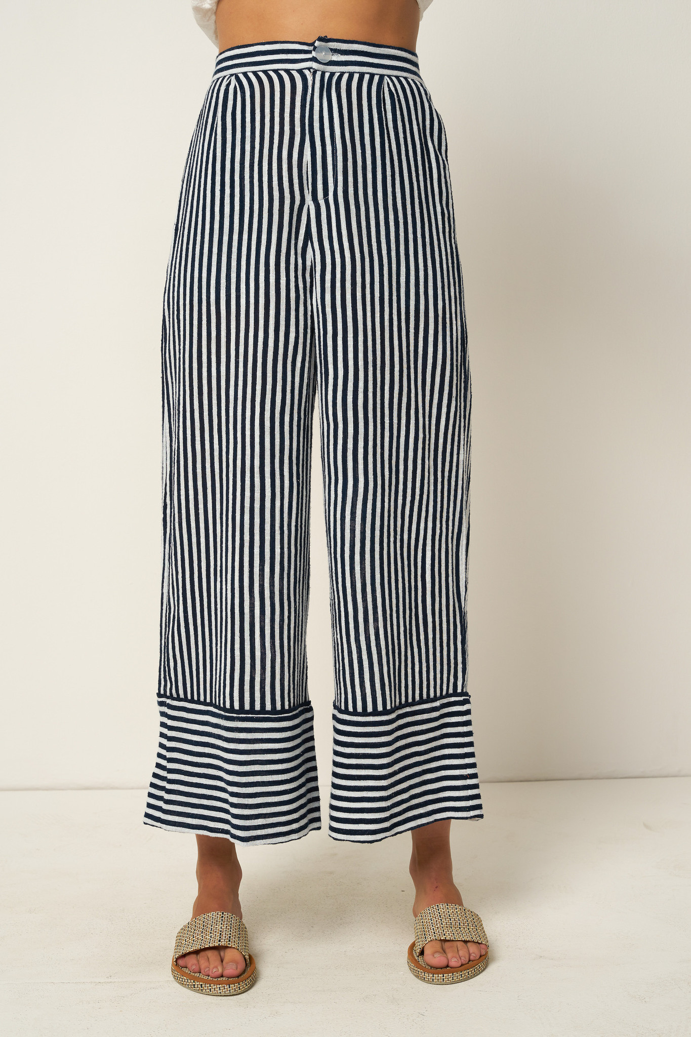 Rue Stiic Wyatt Pant, Copperfield Stripe in Moroccan Blue