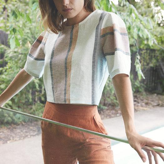 Eve Gravel Azur Top, Linen Stripes