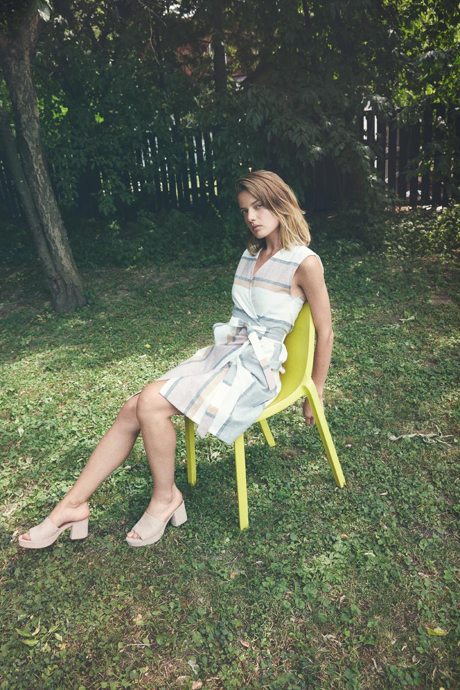 Eve Gravel Linen Stripes Dress, Fleur D'Oranger